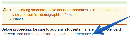 Add students link in Registration Wizard